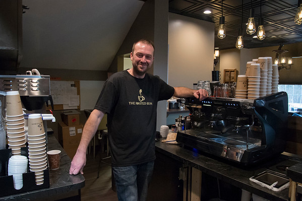 01/27/20 Wesley Bunnell | StaffrrCo-owner Doug Lamonthe of the Roasted Bean coffee shop. The shop which opened approximately two weeks ago is located at 934 Terryville Ave in Bristol.