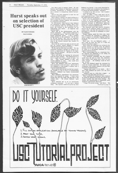Daily Trojan, Vol. 62, No. 1, September 17, 1970