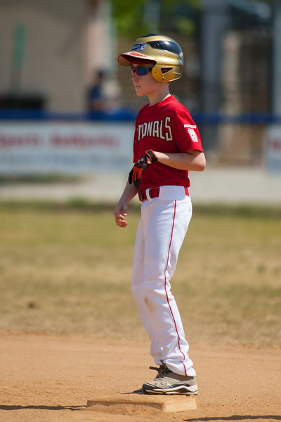 Toby steals 2nd base on a passed ball in the bottom of the 2nd inning. The Nationals played a close and exciting game against the Cubs before being outscored in the 6th inning, losing 8-9. They are now 2-1 for the season. 2012 Arlington Little League Baseball, Majors Division. Nationals vs Cubs (21 Apr 2012) (Image taken by Patrick R. Kane on 21 Apr 2012 with Canon EOS-1D Mark III at ISO 200, f2.8, 1/5000 sec and 300mm)