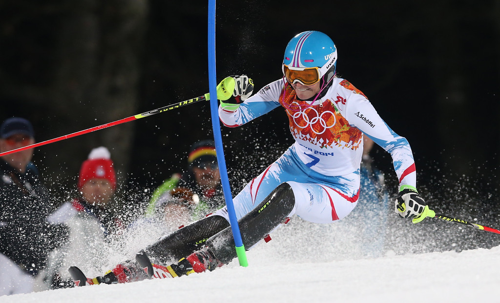 . Austria\'s Marlies Schild skis in the second run of the women\'s slalom to win the silver medal in the Sochi 2014 Winter Olympics, Friday, Feb. 21, 2014, in Krasnaya Polyana, Russia. (AP Photo/Luca Bruno)