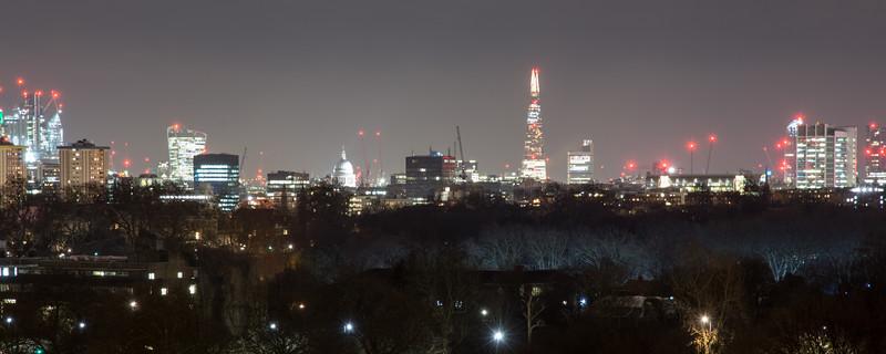 London skyline from Primrose Hill at night