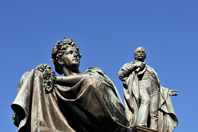 Female Figure Representing River Mur and Statue of Archduke Johann, Hauptplatz in Graz, Styria (Austria)
