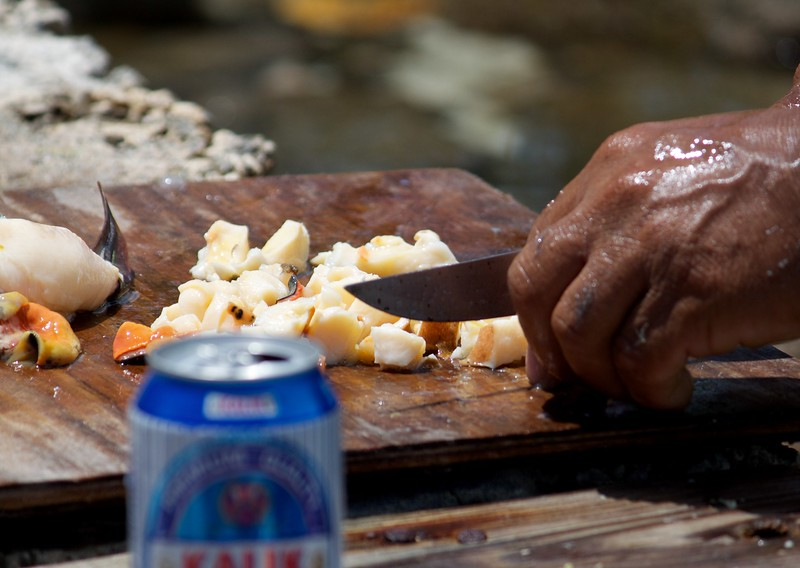 Chopping the conch meat for conch salad