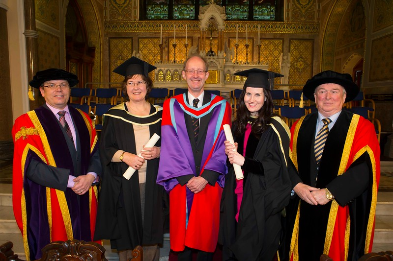 Waterford Institute Of Technology Conferring. Pictured at WIT Waterford Institute Of Technology Conferring are Emer Bailey, Dunmore East and Sarah Mackin, Dublin who graduated Master of Arts Mode A, Also in photo is Dr. Ruaidhrí Neavyn, President, WIT, Dr. David Rhodes WIT and Dr Donnie Ormonde Chairman WIT. Picture: Patrick Browne