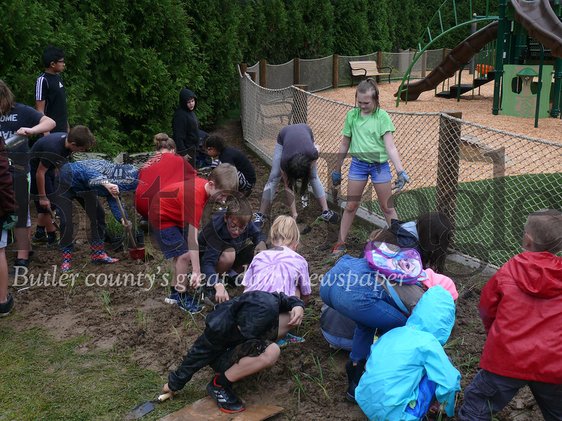Students from the Seneca Valley School District work to plant shrubs at the new playground at North Boundary Park in Cranberry Township.
