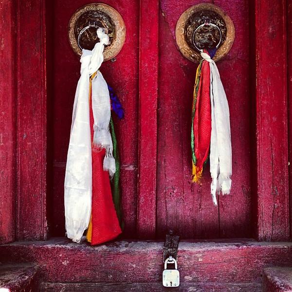 Favorite ancient doorway candidate #24. Locks and tassels: Hemis Buddhist Monastery #Ladakh