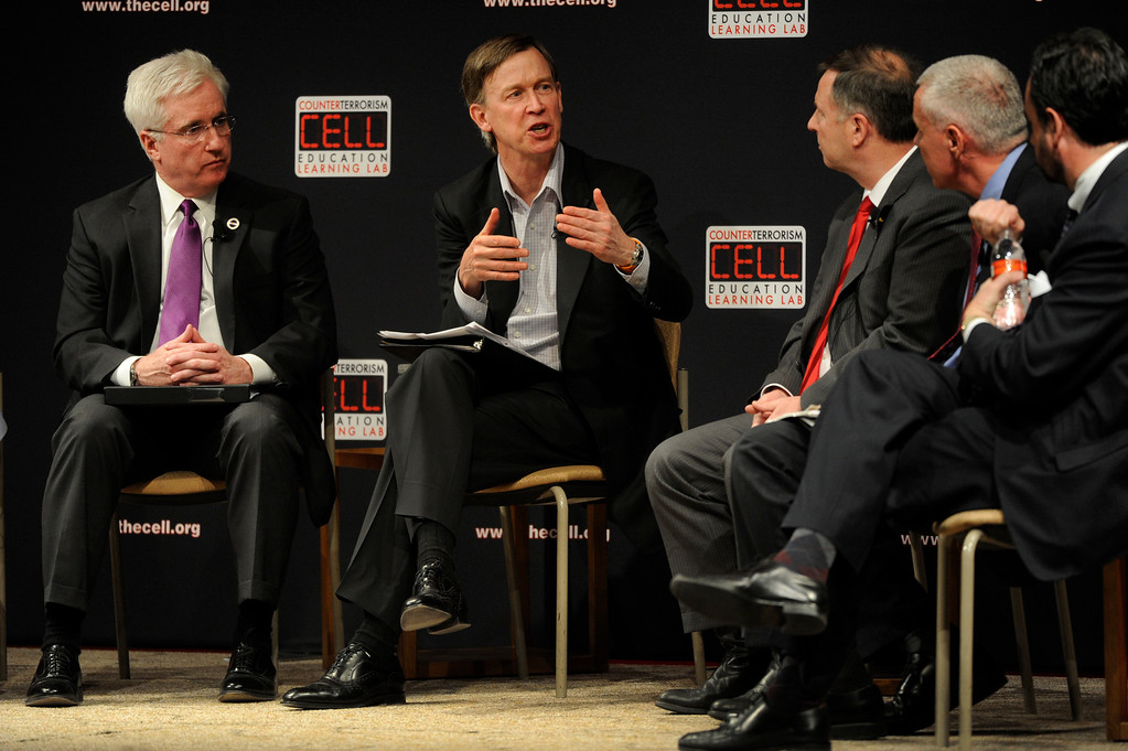 . DENVER, CO. - FEBRUARY 19:  A panel moderated by Colorado Governor John Hickenlooper, center, debated gun violence and gun  control legislation Tuesday night, February 19, 2013.  The event was sponsored by The Cell at the Seawell Grand Ballroom at the Denver Performing Arts Complex. (Photo By Karl Gehring/The Denver Post)