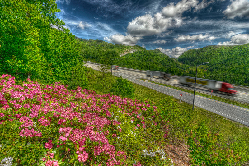 View from the observation area at the North Carolina Welcome Center and Rest Area on Interstate 26 near Mars Hill, NC on Thursday, May 10, 2012. Copyright 2012 Jason Barnette