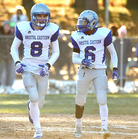 11/23/2018 Mike Orazzi | Staff Bristol Eastern's Bryce Curtin (8) and Treyvon Daniel (6) during the Battle for the Bell at Muzzy Field Friday. Central won 24-19.
