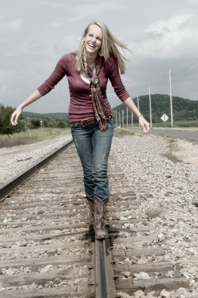 019a Shanna McCoy Senior Shoot - Train Tracks (nik b&w part desat).jpg