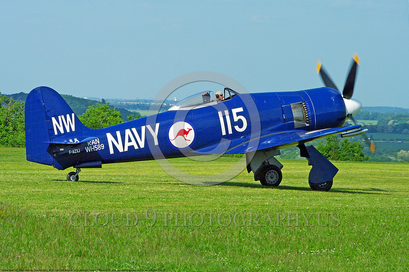 WB-Sea Fury 00015 A taxing blue Hawker Sea Fury fighter Austrailian Navy warbird picture by Stephen W. D. Wolf.JPG