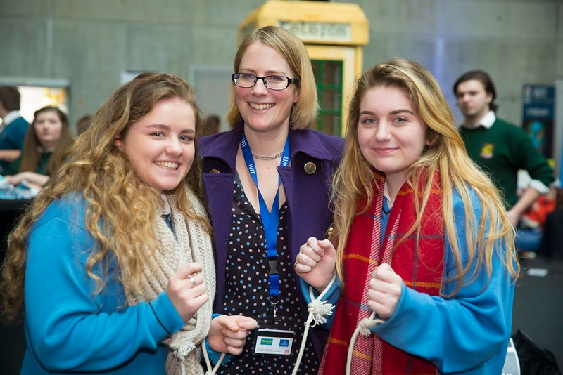 20/01/2017.  Waterford Institute of Technology (WIT) open day at WIT Arena. Pictured are Anna O'Regan and Sarah O'Brien from Mercy Secondary School, Waterford with Aoife Hennessey from WIT. Picture: Patrick Browne  With the traditional CAO deadline of 1 February fast approaching Waterford Institute of Technology (WIT) ran two open days at the €20m WIT Arena on its West Campus which opened in recent months. The Schools' Open Day on Friday, 20 January attracted secondary students and teachers from across the country. The #StudyatWIT Open Day on Saturday, 21 January was designed to give information for all prospective students and their families with information available on student supports from part-time and postgraduate courses to the institute's 70 CAO courses. Find out more at cao.wit.ie.