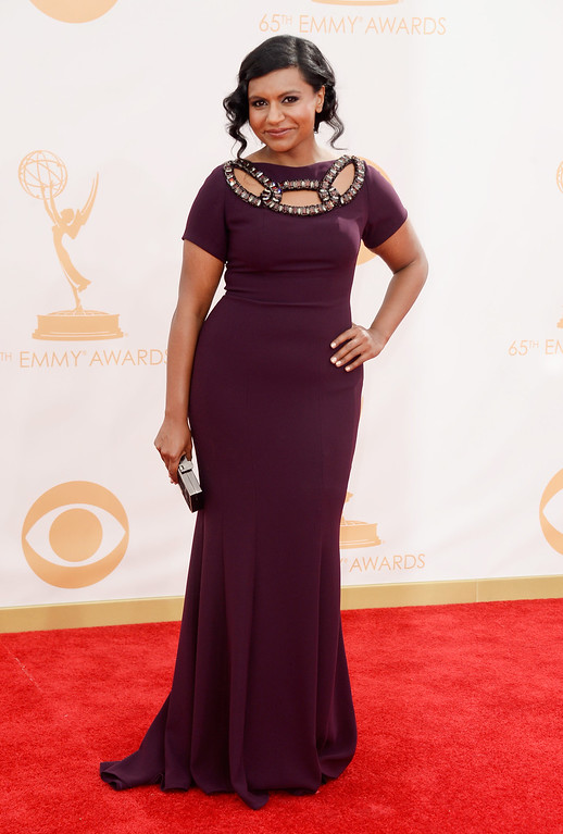 . Actress Mindy Kaling arrives at the 65th Annual Primetime Emmy Awards held at Nokia Theatre L.A. Live on September 22, 2013 in Los Angeles, California.  (Photo by Frazer Harrison/Getty Images)