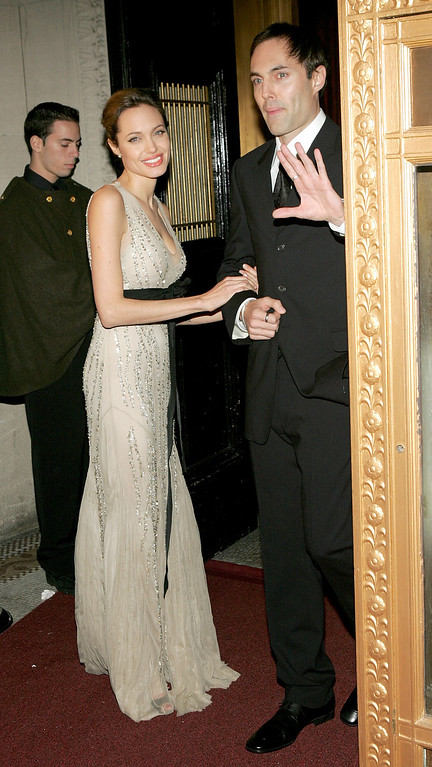 . NEW YORK - OCTOBER 24:  Actress Angelina Jolie and her brother James Haven attend the  Worldwide Orphans Foundation to Honor Christine Ebersole at Capitale October 24, 2005 in New York City.  (Photo by Paul Hawthorne/Getty Images)