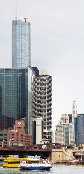 Several iconic Chicago Buildings in one shot.  L to R: Trump Tower, The Britannica Building, Marina City, Mather Tower.