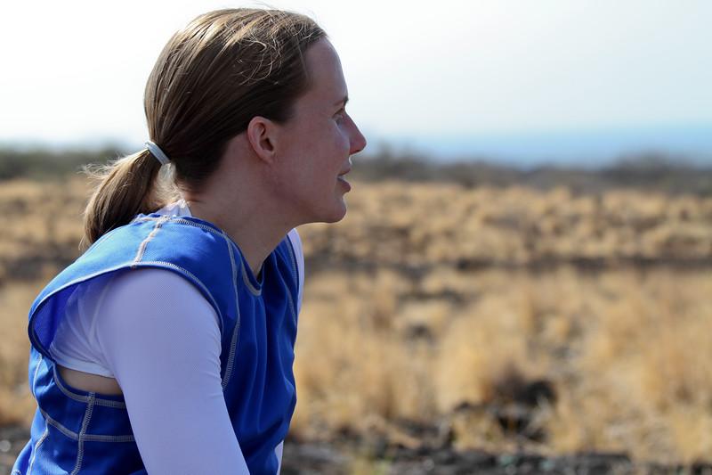 Carrie contemplates the desolate lava fields.