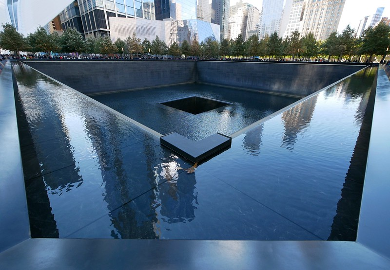 9/11 Memorial. Picture doesn't capture how somber it really is; the water is an infinity pool that flows into the abyss in the middle