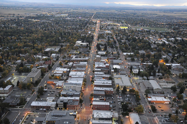 Bozeman Downtown Aerial Evening / Night Images