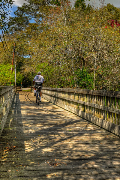 A bicyclist crosses a small bridge in North Litchfield Beach, SC on Friday, March 23, 2012. Copyright 2012 Jason Barnette