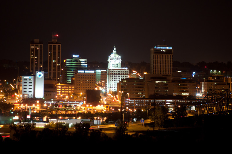 Peoria, IL Skyline at Night #DSC_0019