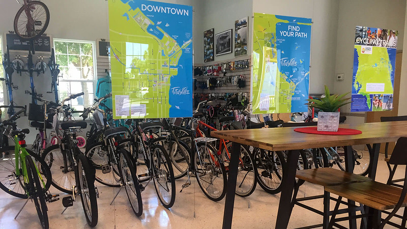 Bicycles in a row in the Titusville Welcome Center