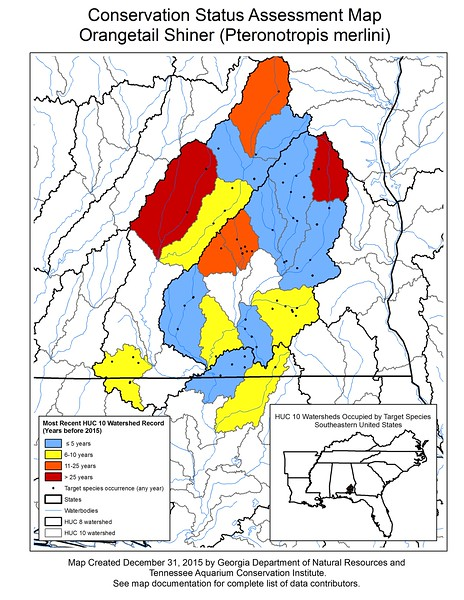 Conservation Status Assessment Map for Orangetail Shiner (Pteronotropis merlini)