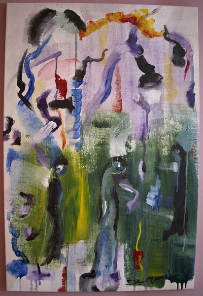 "1996, 24"" x 36"". Three Nuns, Acrylic on canvas."