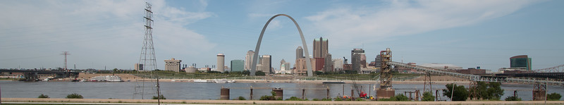 Postcard views of St. Louis from Malcolm Martin Park in East St. Louis, IL.