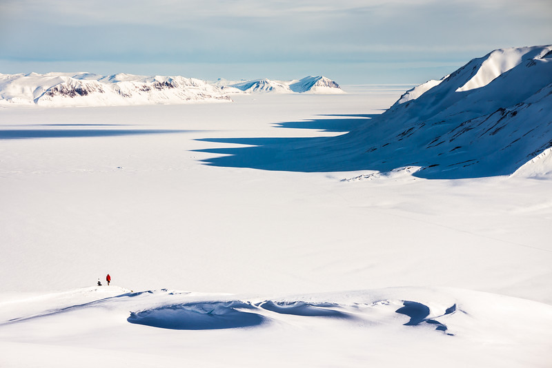 Steven Andrews making observations above Fleming Fjord, North-East Greenland