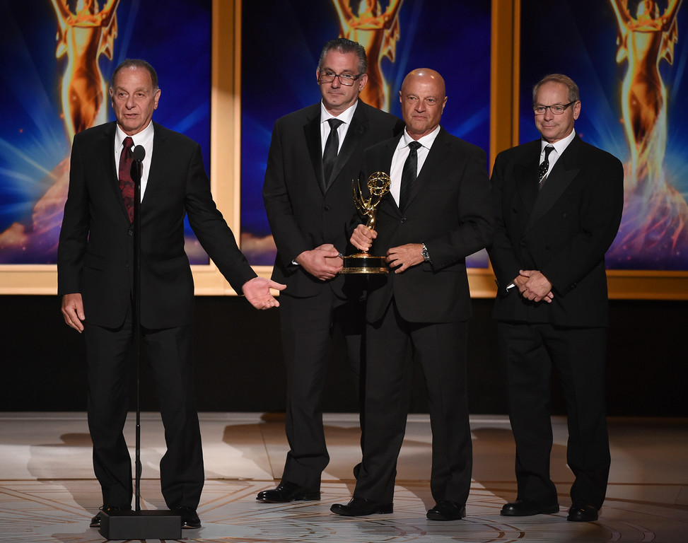 ". Stephen Cimino, Paul Cangialosi, John Pinto, Len Wechsler accept the award for outstanding technical direction, camerawork, video control for a series ""Saturday Night Live - Host: Donald Glover\"" during night two of the Television Academy\'s 2018 Creative Arts Emmy Awards at the Microsoft Theater on Sunday, Sept. 9, 2018, in Los Angeles. (Photo by Phil McCarten/Invision/AP)"