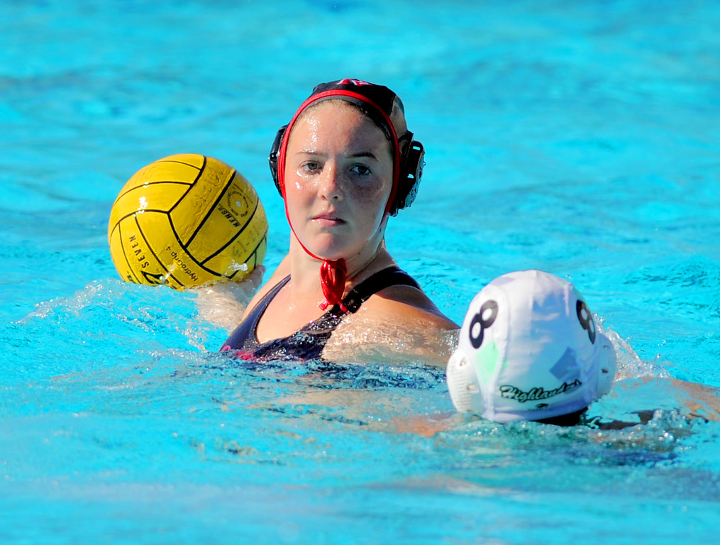 . 02-16-2012--(LANG Staff Photo by Sean Hiller)- Palos Verdes girls water polo defeated Upland 10-8 in Saturday\'s CIF Southern Section Division III quarterfinal at Palos Verdes High School. PV\'s Kaitlin Leimbach (6) looks to pass over Upland\'s Ashley Paz.