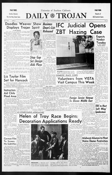 Daily Trojan, Vol. 57, No. 21, October 18, 1965