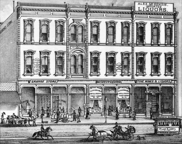 1880-1889 - Drawing of an exterior view of the McDonald Block on Main Street in Los Angeles