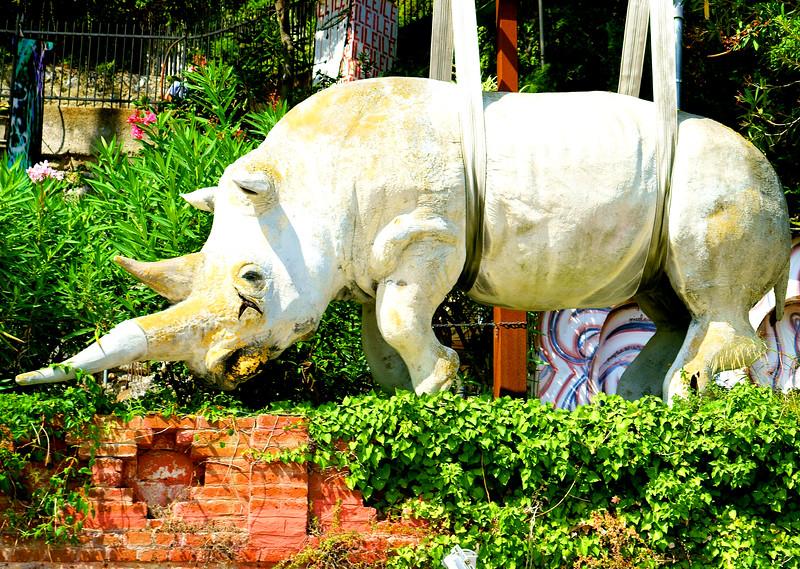 Denizens of Portofino. A hanging rhino?