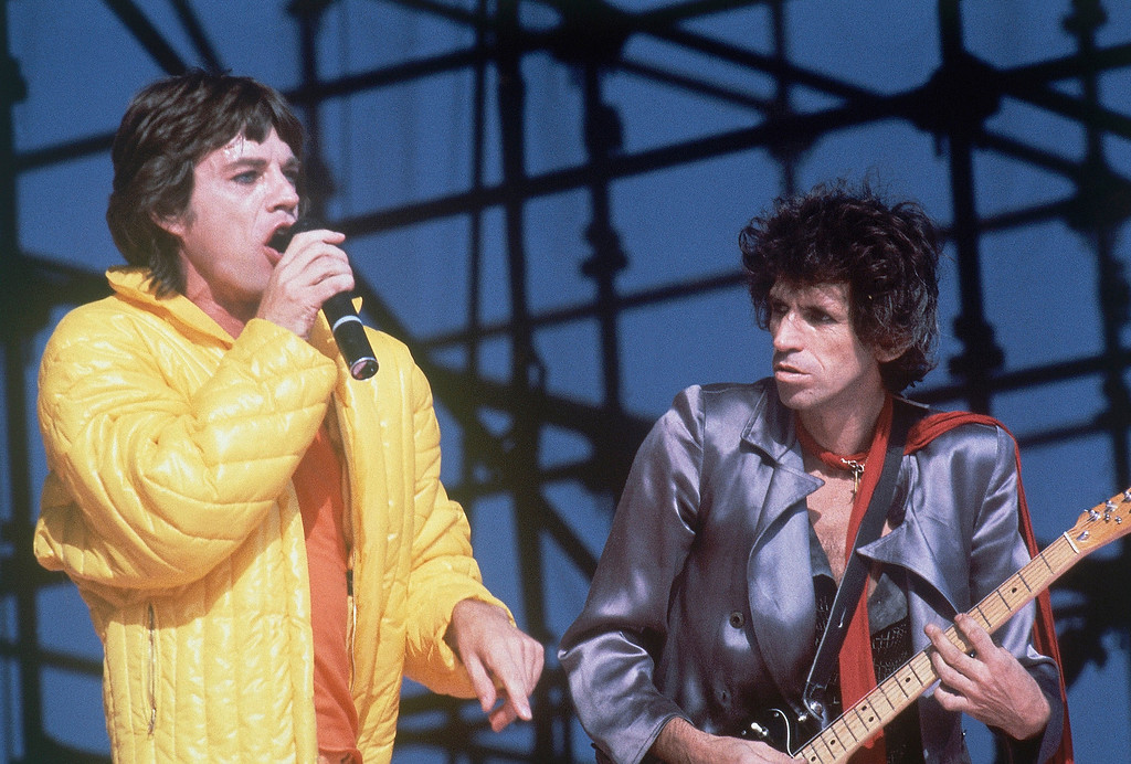 . Mick Jagger, singing, is joined by Keith Richards, at right, as the Rolling Stones perform in concert at Philadelphia. PA., on September 26, 1981.    (AP Photo/Clem Murray)