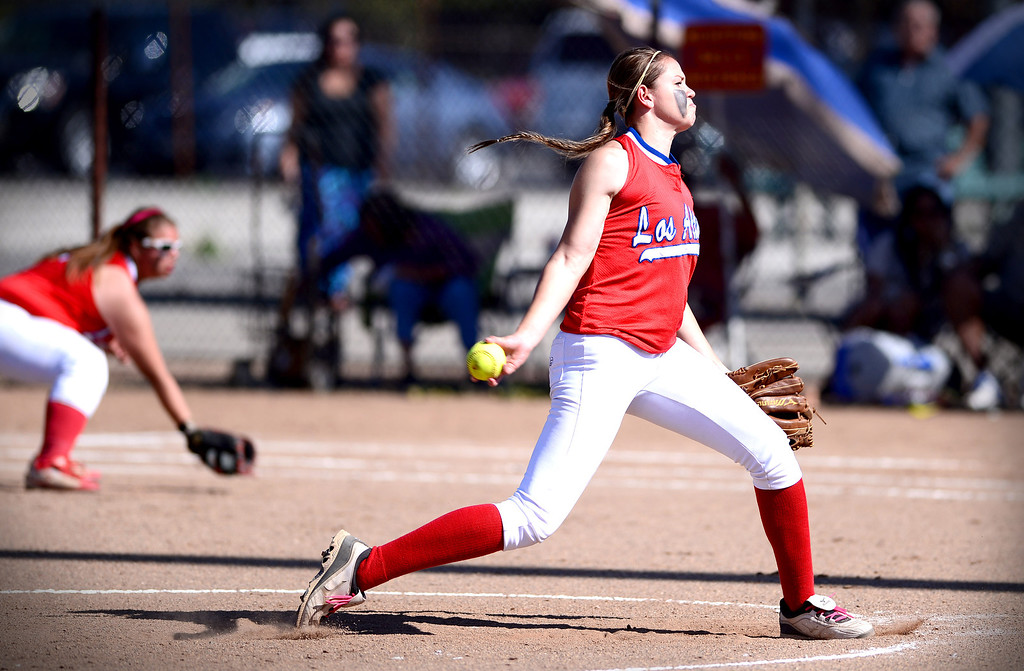 . Los Altos\' Celeste Wood pitches to West Covina as they defeat  West Covina 4-3 Thursday, May 15, 2014 at West Covina High School. (Photo by Sarah Reingewirtz/Pasadena Star-News)