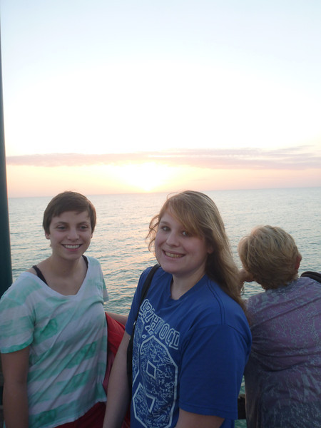 Anna & Amanda on the pier at Sharky's