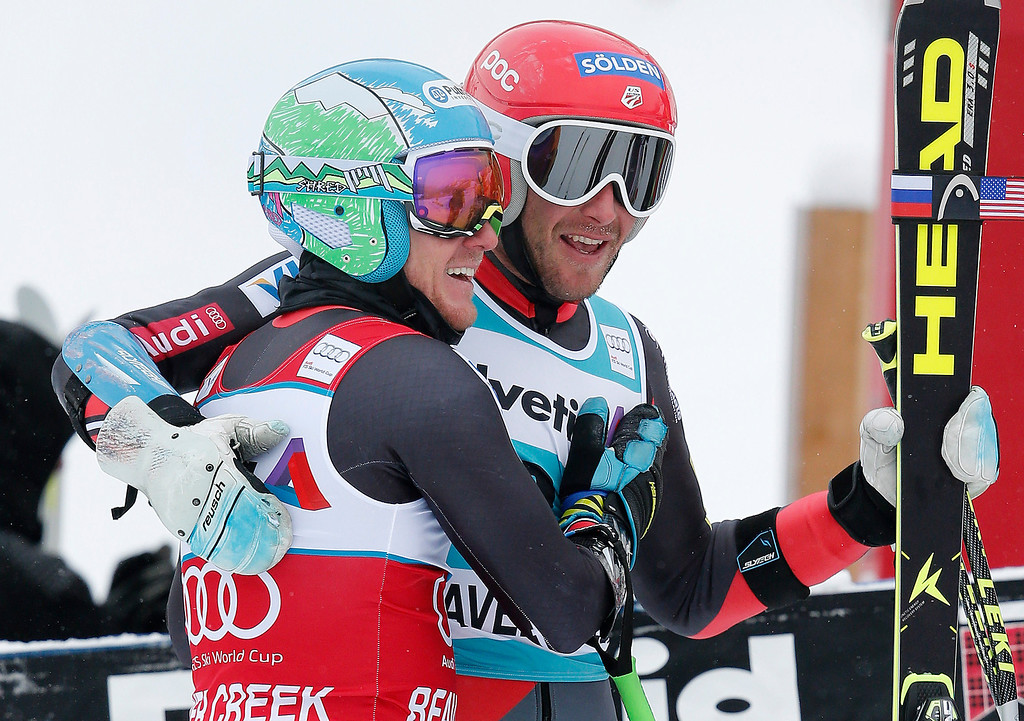 . Ted Ligety, left, is greeted by Bode Miller after Ligety won the men\'s World Cup giant slalom skiing event, Sunday, Dec. 8, 2013, in Beaver Creek, Colo. Miller placed second in the race.(AP Photo/Charles Krupa)