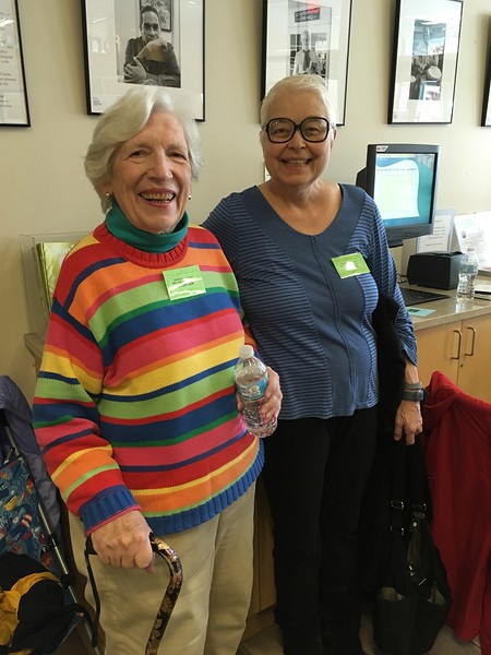 Joan Steiger and Pat Rackowski volunteering for the Ticket table.