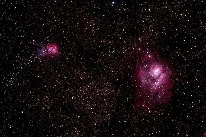 Messier M8 - NGC6523 - Gum 72 - Lagoon Nebula and Cluster, M20 - NGC6514 - Gum 76 - Trifid Nebula - 7/5/2011 (Re-processed stack)