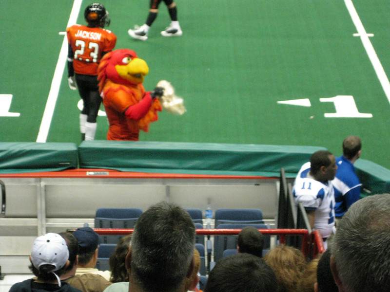 Spike, the Firebirds mascot, with a wig. I think that he might have been offering it to Coach Hug.