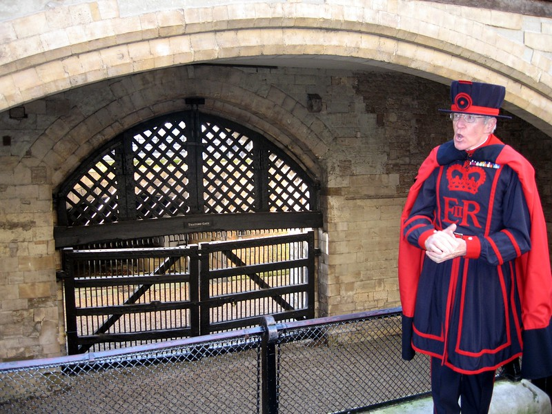 A Yeoman Warder at Traitor's Gate, the entrance to the Tower from the River Thames