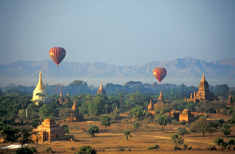 Hot-air Balloons above Bagan, Burma