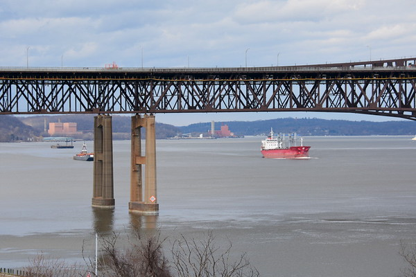 Lady Serra passing Morton S Bouchard and Helen Laraway 3/30/14 13:32 hd hrs just north of Newburgh - Beacon Bridge