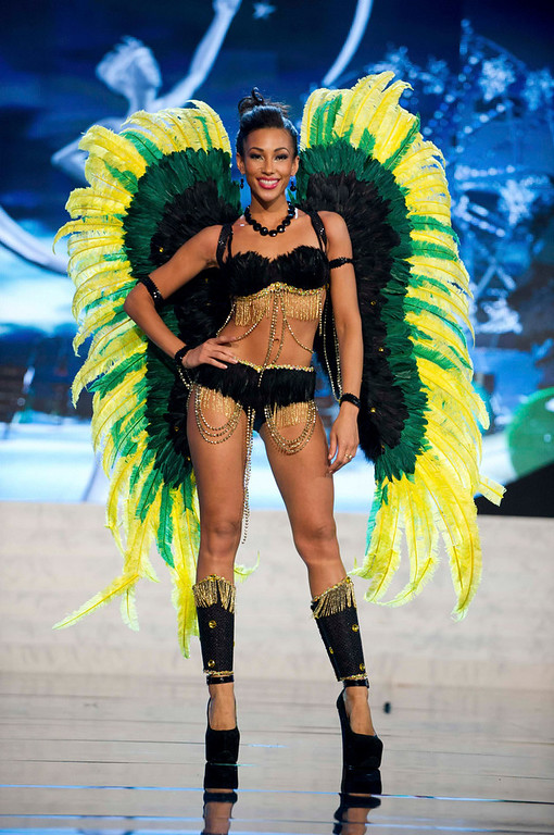 . Miss Jamaica Chantal Zaky performs onstage at the 2012 Miss Universe National Costume Show at PH Live in Las Vegas, Nevada December 14, 2012. The 89 Miss Universe Contestants will compete for the Diamond Nexus Crown on December 19, 2012. REUTERS/Darren Decker/Miss Universe Organization/Handout