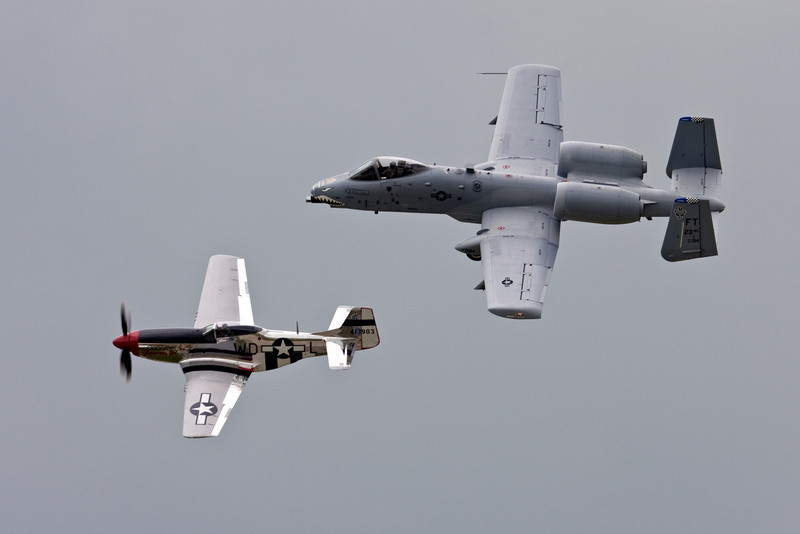 The USAF Heritage flight for the airshow had a P-51 and an A-10 fly formation.  This is perhaps the first Heritage flight I've seen where the P-51 was flying formation with an aircraft actually made to operate at similar speeds.