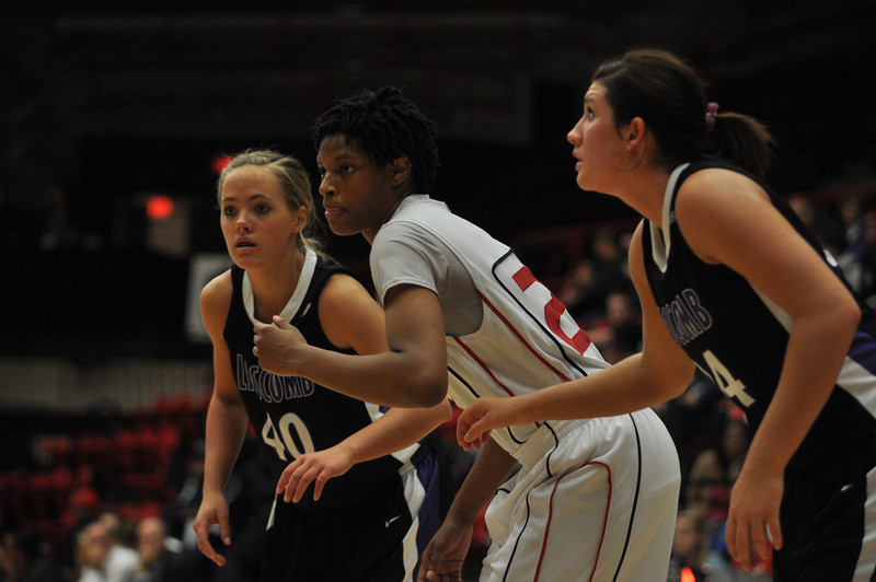 Jessica Heilig rebounds against Lipscomb University, Friday November 9, 2012 in the LYCC.