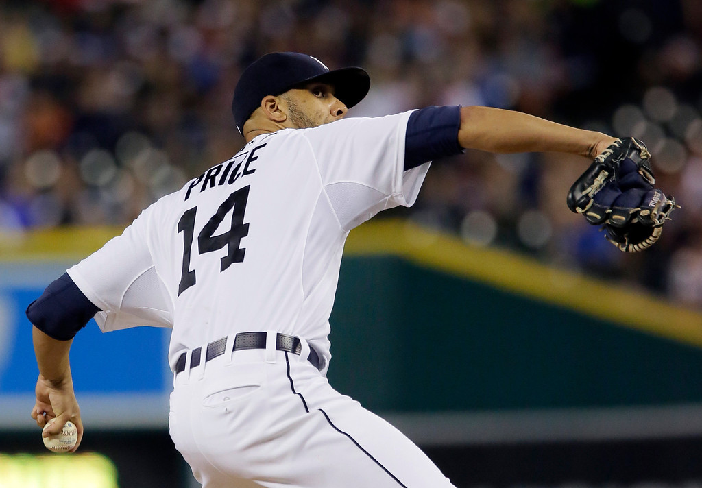 . Detroit Tigers pitcher David Price delivers against the Cleveland Indians during the ninth inning of a baseball game Friday, June 12, 2015, in Detroit. Price pitched a seven-hitter, striking out eight, for his second complete game in as many starts. (AP Photo/Duane Burleson)
