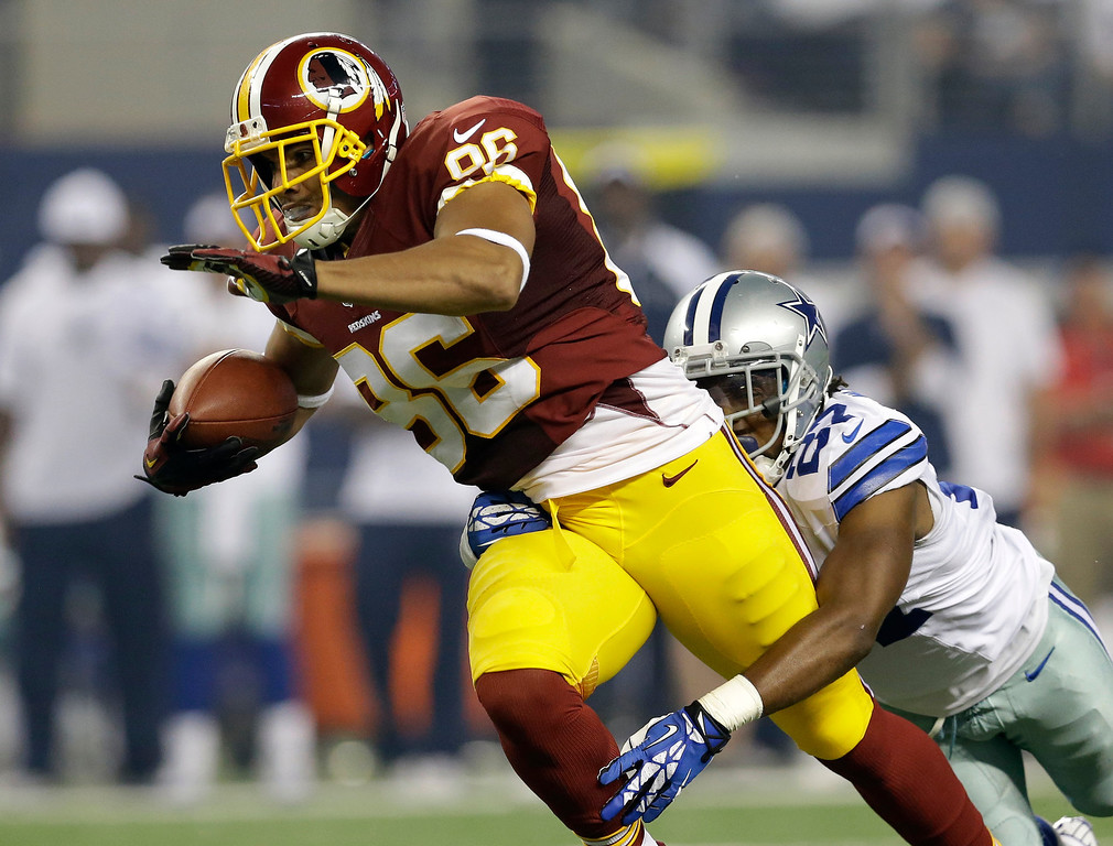. Washington Redskins\' Jordan Reed (86) drags Dallas Cowboys strong safety J.J. Wilcox (27) behind him as he gains extra yards in the first half of an NFL football game, Sunday, Oct. 13, 2013, in Arlington, Texas. (AP Photo/LM Otero)