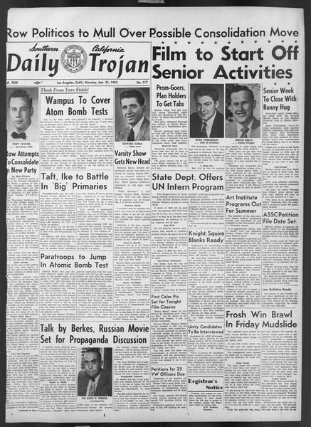 Daily Trojan, Vol. 43, No. 117, April 21, 1952